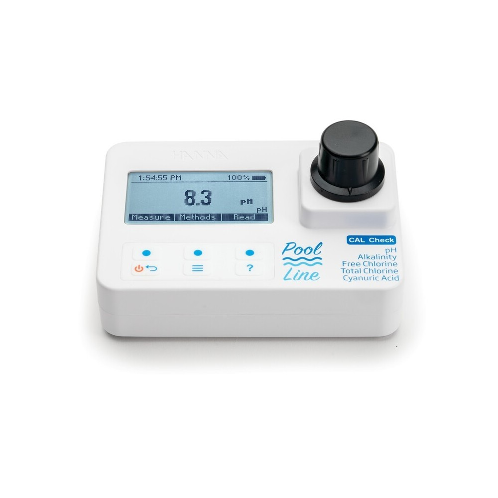 Fotómetro portátil para medir Cloro Libre y Total/pH/Ácido Cianúrico/Alcalinidad en piscinas HI971044C